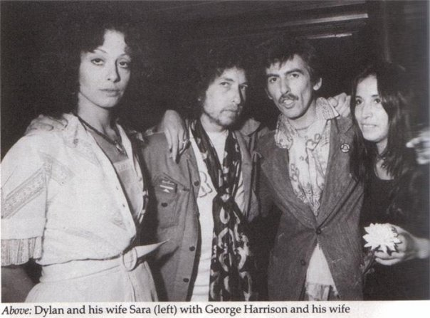 Bob Dylan, Sarah, George Harrison, his wife