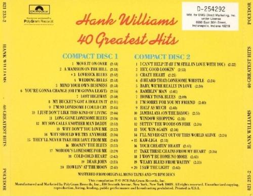 Hank Williams, 40 Greatest Hits, CD back