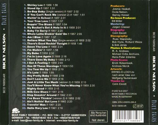 Ricky Nelson, Ricky Rocks, CD back cover
