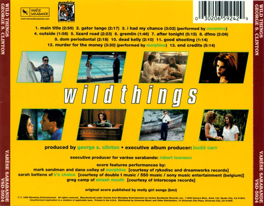 обратная обложка диска, Wild Things OST 1998